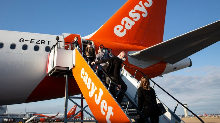 passengers boarding an easyJet flight.