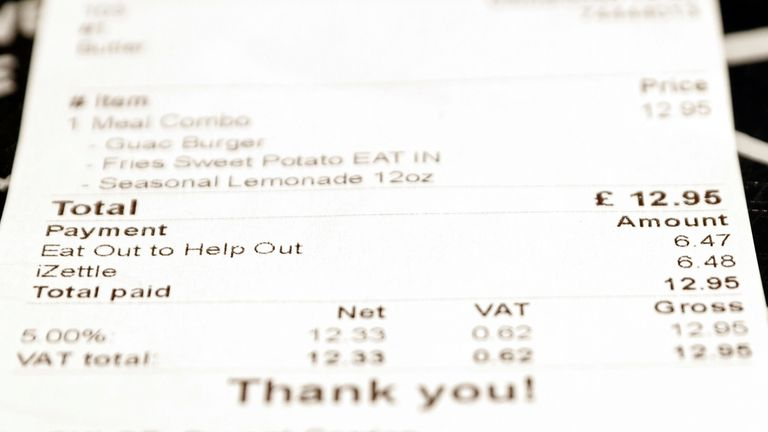 A receipt is pictured at By Chloe restaurant, on the opening day of 'Eat Out to Help Out' scheme