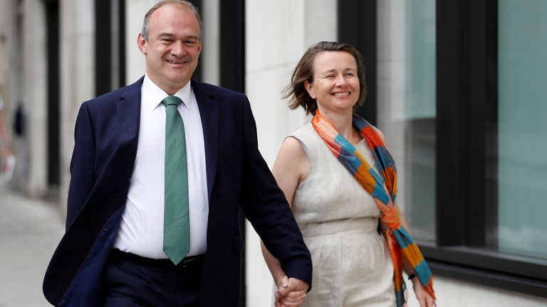 Ed Davey, Liberal Democrat leadership contender, arrives with his wife Emily for the announcement of the new leader of the Liberal Democrats party in London, Britain July 22, 2019. REUTERS/Peter Nicholls