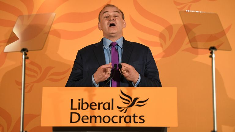 Sir Ed Davey speaks at the Conrad Hotel, Westminster, London after he has been elected as the leader of the Liberal Democrats.
