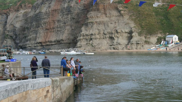 The toddler got into trouble in the water in Staithes, North Yorkshire