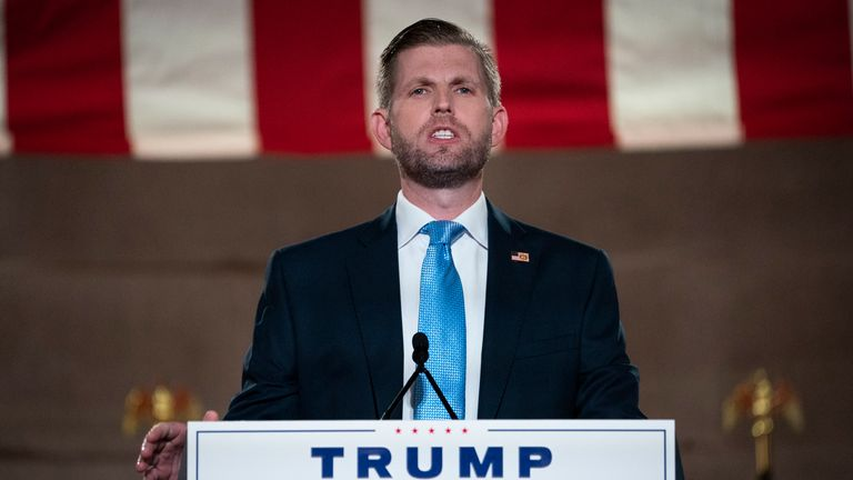 WASHINGTON, DC - AUGUST 25: Eric Trump, son of U.S. President Donald Trump, pre-records his address to the Republican National Convention at the Mellon Auditorium on August 25, 2020 in Washington, DC. The coronavirus pandemic has forced the Republican Party to move away from an in-person convention to a televised format, similar to the Democratic Party's convention a week earlier. (Photo by Drew Angerer/Getty Images)