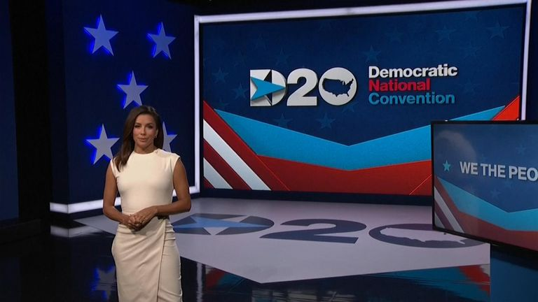 The first night of the convention was hosted by actress Eva Longoria. Pic: DNC