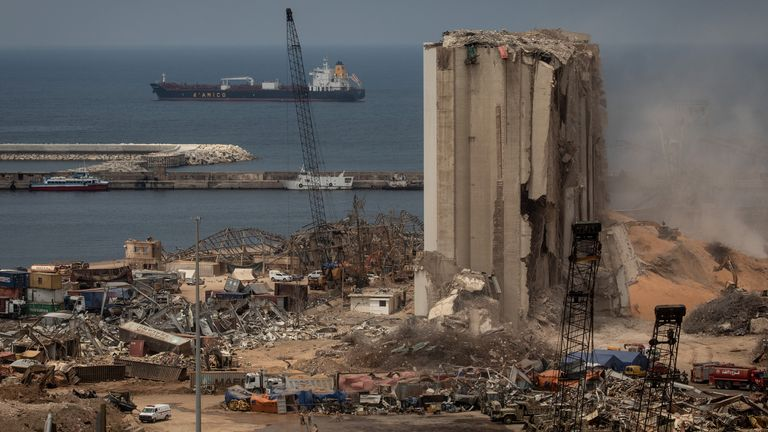 Bulldozers continue work at the base of the destroyed Beirut port silos. Pic: Chris McGrath/Getty Images