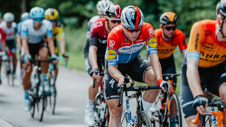 Dutch cyclist Fabio Jakobsen rides prior to crashing during the opening stage of the Tour of Poland race