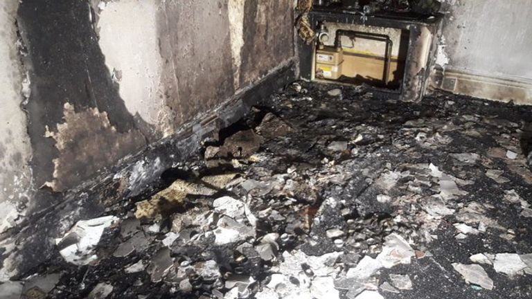The scene of the blaze after the man's proposal stunt backfired. Pic: South Yorkshire Fire and Rescue
