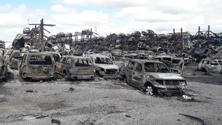 A fire broke out at a scrapheap in Bentley Moor Lane in Carcroft, South Yorkshire.  Pic: South Yorkshire Fire