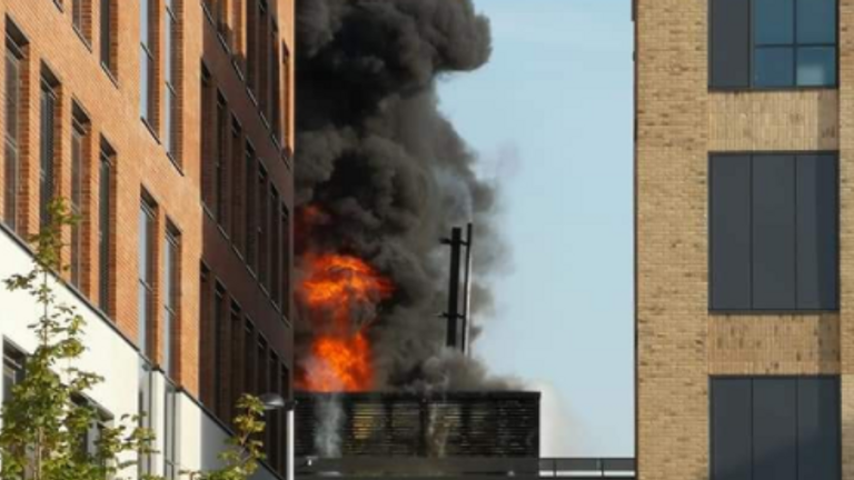 The fire ripped through the university's engineering department. Pic: @TaffyDragon57