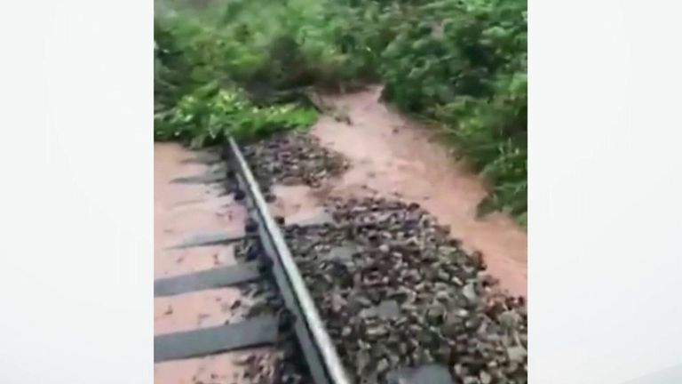 At 9.49am on Wednesday, Network Rail Scotland posted a video of a landslip and flooding on rail tracks at Carmont.