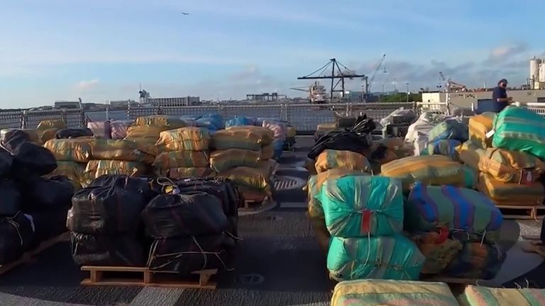 Monster haul of drugs is piled up in Florida