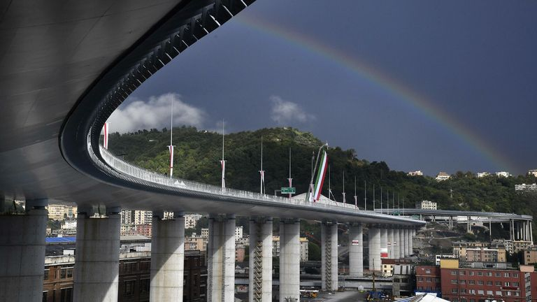 The new Genoa bridge was inaugurated by Italy's president