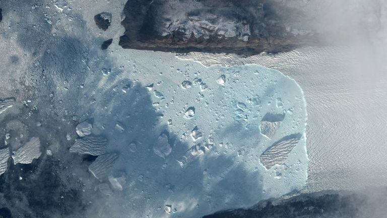 Tracy glacier is seen in this satellite handout image from Greenland, September 7, 2018, provided by Maxar Technologies on August 14, 2020. Satellite image ©2020 Maxar Technologies/Handout via REUTERS THIS IMAGE HAS BEEN SUPPLIED BY A THIRD PARTY. NO RESALES. NO ARCHIVES MANDATORY CREDIT