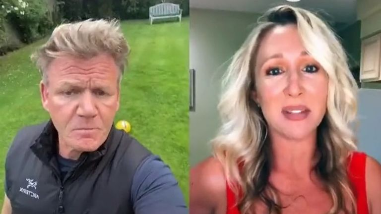 Gordon Ramsay does not look too impressed with Michelle's fish and chips recipe. Pic: TikTok