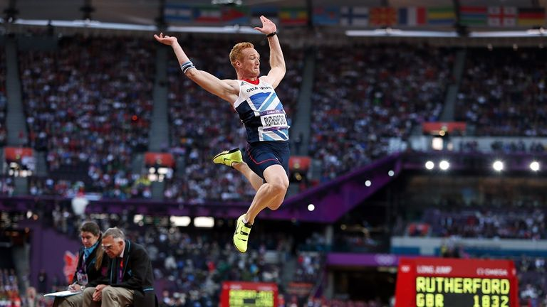 Rutherford in action during the Men's Long Jump at the London 2012 Olympics