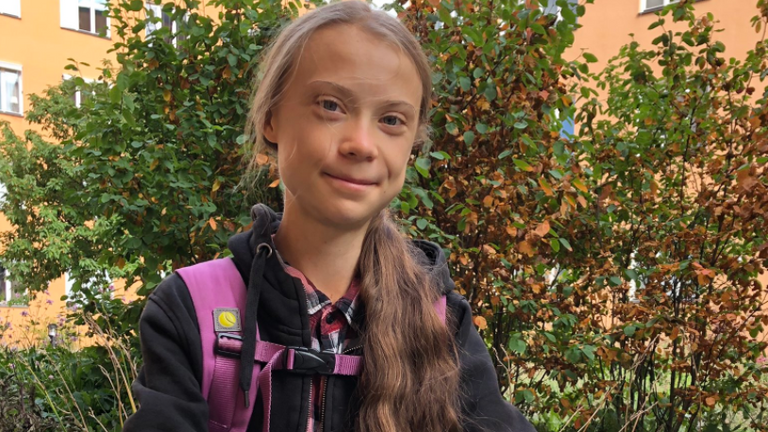 The teenager shared a photo of herself heading back to school. Pic: Greta Thunberg
