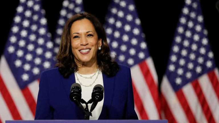 Senator Kamala Harris hit out at President Trump in her first speech since being selected as Joe Biden's running mate