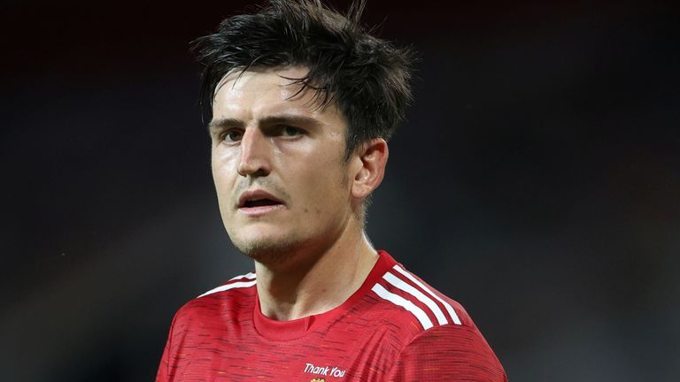 FILE PHOTO: Soccer Football - Europa League - Round of 16 Second Leg - Manchester United v LASK Linz - Old Trafford, Manchester, Britain - August 5, 2020 Manchester United's Harry Maguire, as play resumes behind closed doors following the outbreak of the coronavirus disease (COVID-19) REUTERS/Carl Recine/File Photo