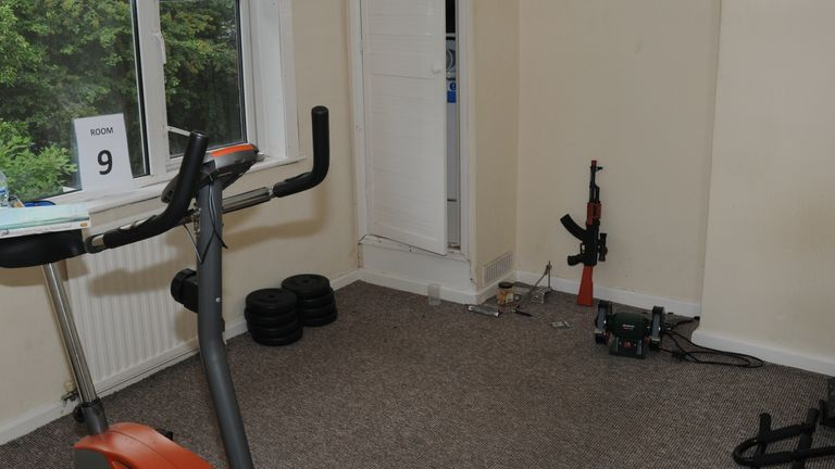 One of the rooms in Muhammad's house was used as a makeshift gym