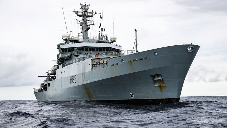 HMS Enterprise is sailing to Lebanon as part of the UK's package of support. File pic