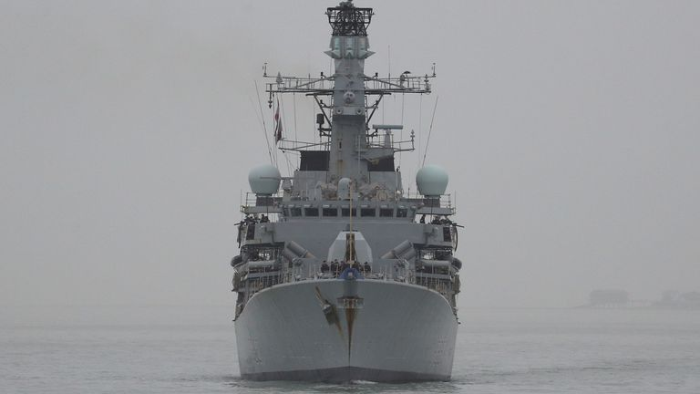 Royal Navy Type 23 frigate HMS Westminster arrives back into Portsmouth. PA Photo. Picture date: Wednesday January 8, 2020. Photo credit should read: Andrew Matthews/PA Wire Read less Picture by: Andrew Matthews/PA Archive/PA Images Date taken: 08-Jan-2020