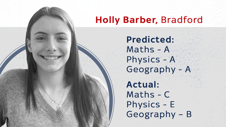 Holly Barber, who got worse grades than expected