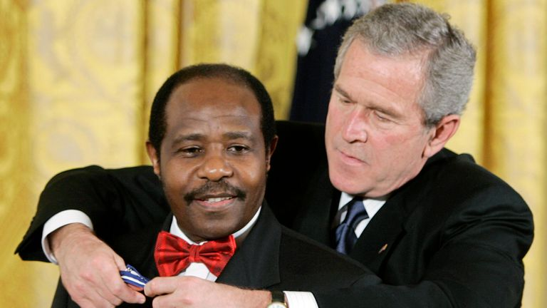Rusesabagina was awarded the Presidential Medal of Freedom by George W. Bush in 2005