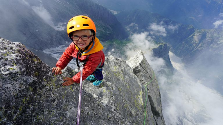 **Sent under embargo, no use before 14.00pm BST August 3 2020**.Jackson Houlding on his three day trip to climb Piz Badile. See SWNS story SWPLclimb; A toddler and his seven-year-old sister have smashed records to become the youngest mountain climbers to scale a massive 10,000ft peak and were given a reward - of Haribo. Freya Houlding, seven, and three-year-old Jackson were literally following in their professional climber father's footsteps as he led them up Piz Badile on the border of Switzerland and Italy. Dad Leo Houlding, 40, spends his working life climbing some of the most dangerous and most remote mountains on earth, and his wife, 41-year-old Jessica, a GP, is an avid climber too. And now Freya has become the youngest person to climb the mountain unaided, and Jackson the youngest person to get to the top - 153 years to the day since the peak was first climbed. Jackon says he enjoyed his climb - and the sweets he got as a well done.