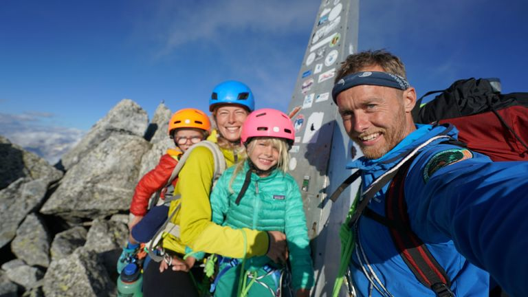 **Sent under embargo, no use before 14.00pm BST August 3 2020**.The Houlding family on a three day trip to climb Piz Badile. See SWNS story SWPLclimb; A toddler and his seven-year-old sister have smashed records to become the youngest mountain climbers to scale a massive 10,000ft peak and were given a reward - of Haribo. Freya Houlding, seven, and three-year-old Jackson were literally following in their professional climber father's footsteps as he led them up Piz Badile on the border of Switzerland and Italy. Dad Leo Houlding, 40, spends his working life climbing some of the most dangerous and most remote mountains on earth, and his wife, 41-year-old Jessica, a GP, is an avid climber too. And now Freya has become the youngest person to climb the mountain unaided, and Jackson the youngest person to get to the top - 153 years to the day since the peak was first climbed. Jackon says he enjoyed his climb - and the sweets he got as a well done.