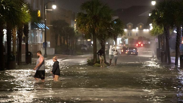 Flooding on Ocean Boulevard in Myrtle Beach, South Carolina