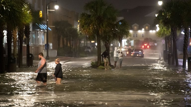 Flooding on Ocean Boulevard in Myrtle Beach, South Carolina