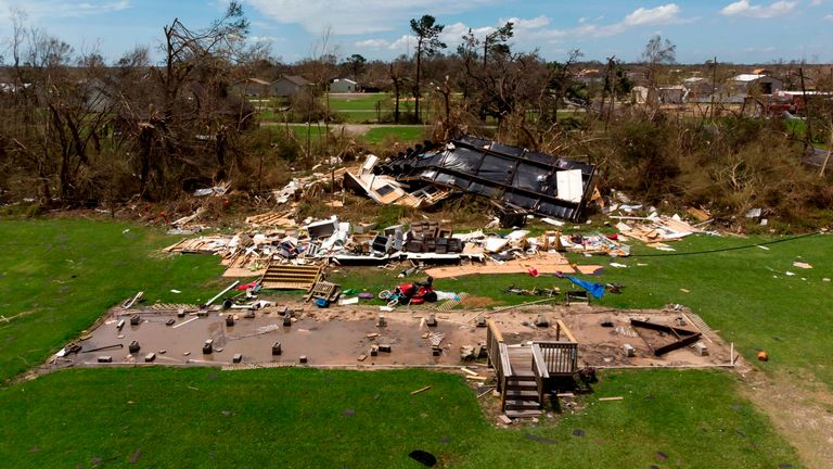 Homes in Louisiana were flattened by the hurricane