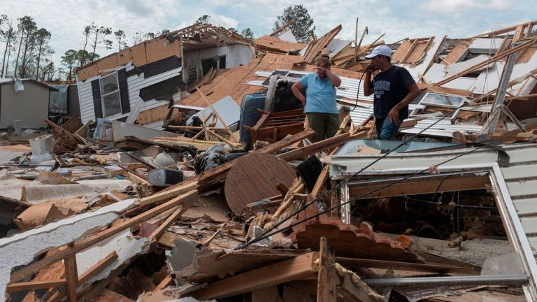This couple's mobile home in Lake Charles was destroyed by the hurricane