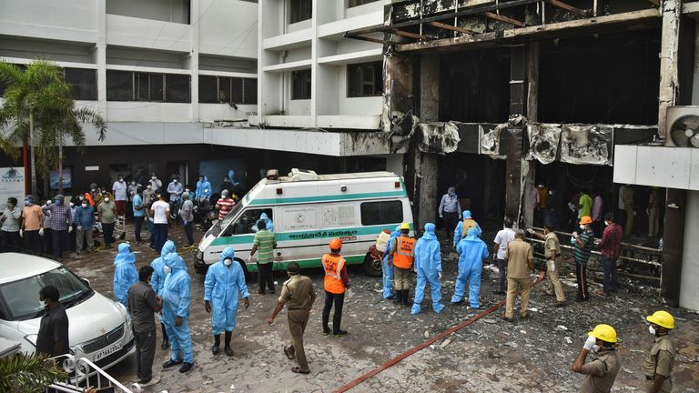 The fire broke out in a hotel that was being used as a COVID-19 facility in Vijayawada