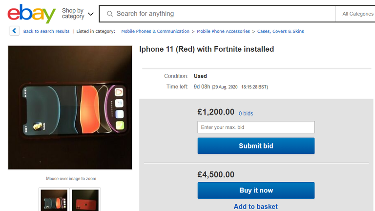 iPhones with Fortnite installed are being sold on eBay