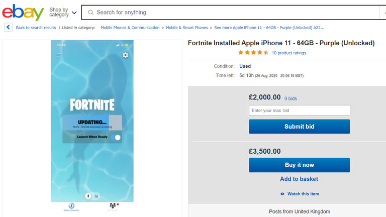 The eBay listings follow Apple removing the game from the App Store