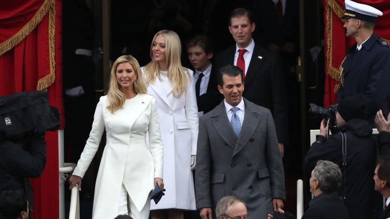 Ivanka Trump (L) and Eric Trump (back row) were both criticised by their aunt