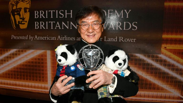Jackie Chan is seen here at the British Academy Britannia Awards in 2019