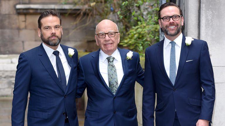 (L-R)  Lachlan Murdoch, Rupert Murdoch, James Murdoch