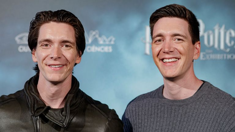 "MADRID, SPAIN - APRIL 10: Actors James Phelps (L) and Oliver Phelps attend ""Harry Potter: The Exhibition"" presentation at Santo Mauro Hotel on April 10, 2019 in Madrid, Spain. (Photo by Eduardo Parra/Getty Images)"