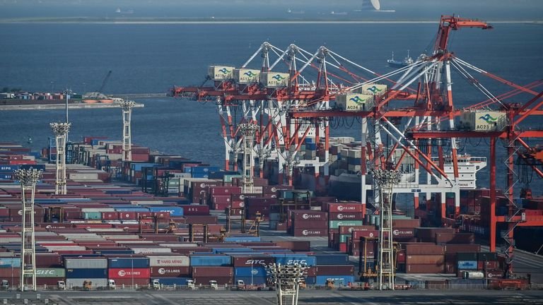 Containers are seen at the international cargo terminal at the port in Tokyo on August 17, 2020
