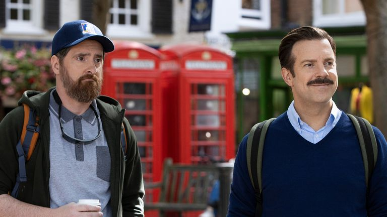 Brendan Hunt and Jason Sudeikis in Ted Lasso. Pic: Apple TV +