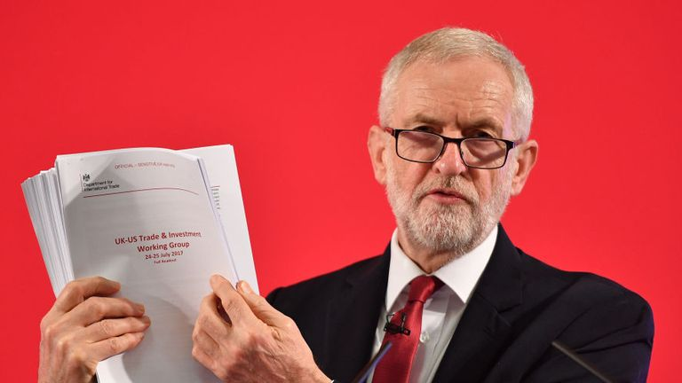 LONDON, ENGLAND - NOVEMBER 27: Labour leader Jeremy Corbyn presents documents related to post-Brexit UK-US Trade talks as he speaks during an election policy announcement on the NHS at church house n Westminster on November 27, 2019 in London, England. The United Kingdom will go to the polls in a general election on December 12. (Photo by Leon Neal/Getty Images)