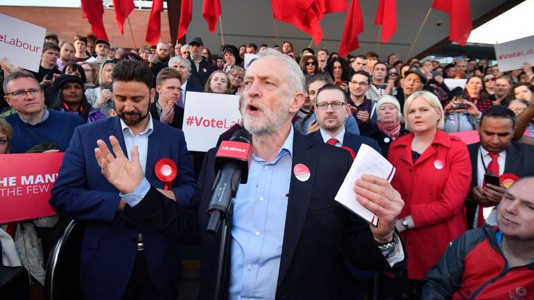 Jeremy Corbyn pictured at a Momentum rally in 2017