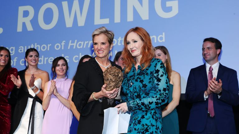 NEW YORK, NEW YORK - DECEMBER 12: President, Robert F. Kennedy Human Rights Kerry Kennedy and the Kennedy family present an award to J.K. Rowling on stage during the Robert F. Kennedy Human Rights Hosts 2019 Ripple Of Hope Gala & Auction In NYC on December 12, 2019 in New York City. (Photo by Bennett Raglin/Getty Images for for Robert F. Kennedy Human Rights)