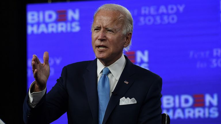 Democratic presidential nominee and former US Vice President Joe Biden participates in a virtual grassroots fundraiser