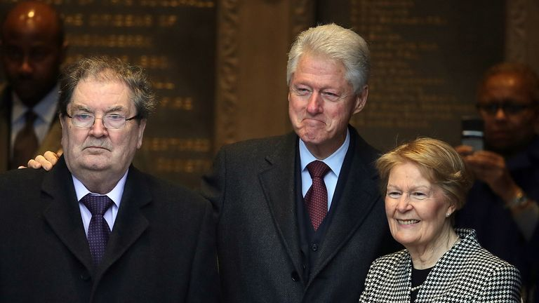 File photo dated 05/03/2014 of Former US President Bill Clinton (centre) with John Hume and his wife Pat at the Guildhall in Londonderry, the former SDLP leader has died at the age of 83.