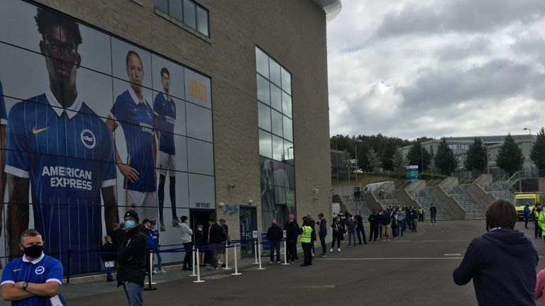 The socially distanced queue outside of the Amex
