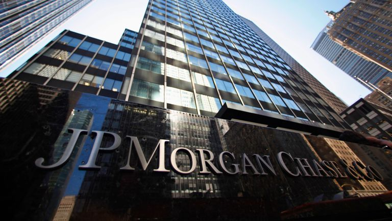 A sign outside the headquarters of JP Morgan Chase & Co in New York