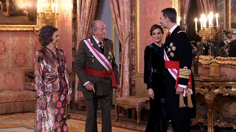 Former king Juan Carlos,  former Queen Sofia, King Felipe and Queen Letizia in 2018