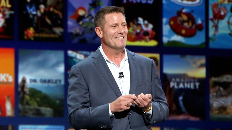 ANAHEIM, CALIFORNIA - AUGUST 23 2019: Chairman of Direct-to-Consumer & International division of The Walt Disney Company Kevin Mayer took part today in the Disney+ Showcase at Disney's D23 EXPO 2019 in Anaheim, Calif.